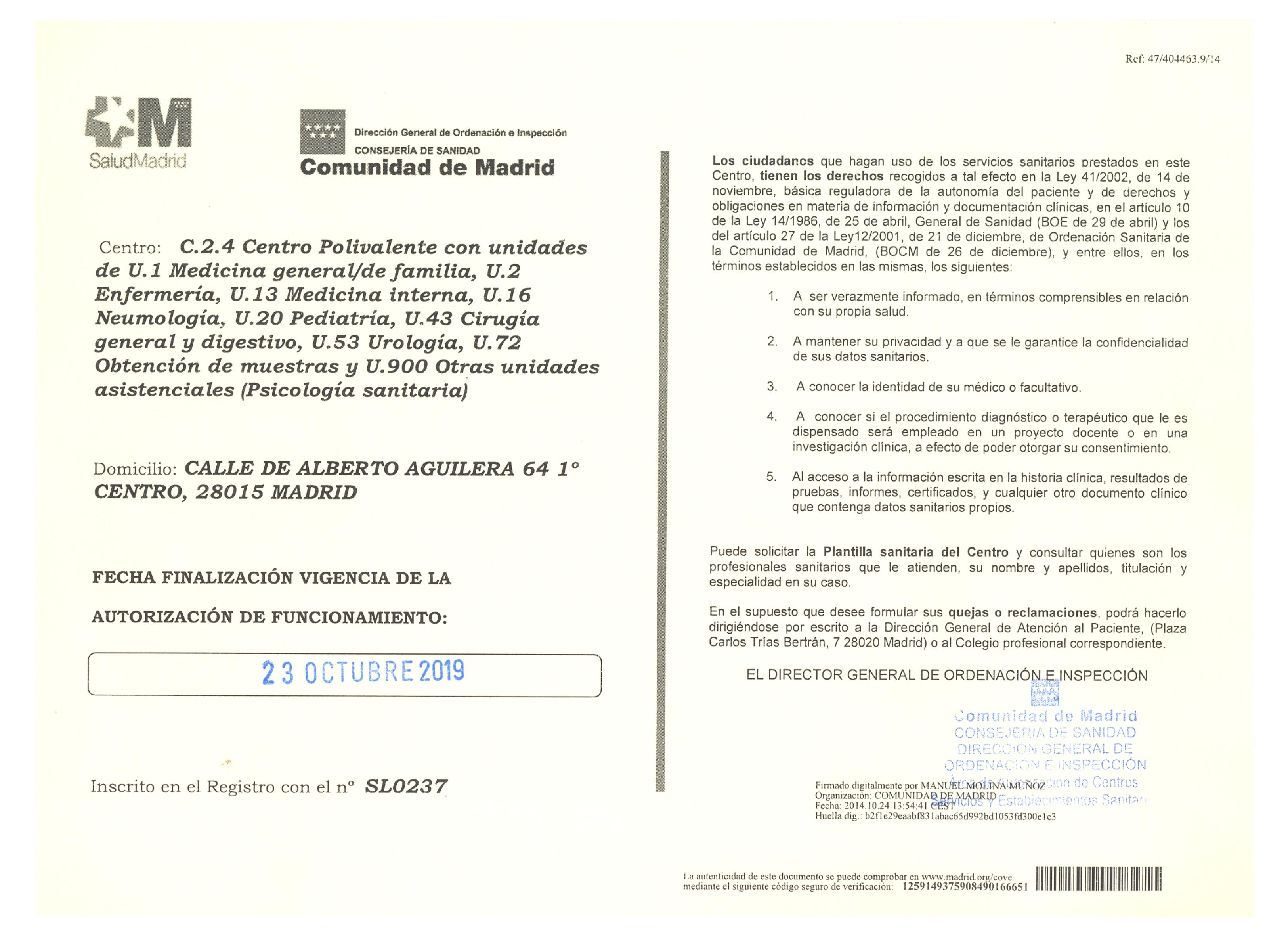 Autorizacion de funcionamiento Comunidad de Madrid